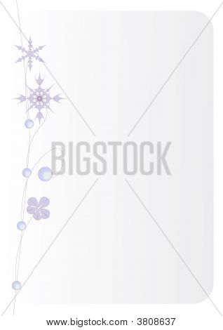 Snowflakes and beads. Decoration for a vertical greeting christmas card. poster