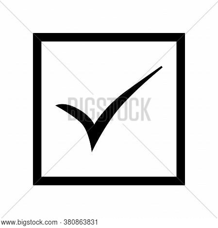 Back Check Mark In Black Square On White Background. Tick Icon Vector Symbol, Checkmark Isolated On