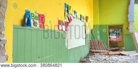 Sremska Mitrovica, Serbia, 13 August 2020. Dismantling And Demolition Of The Old School Named After