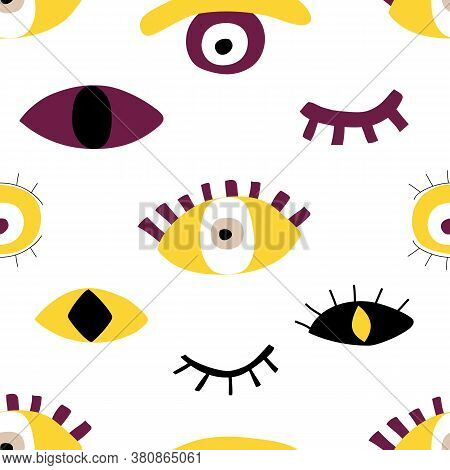Hand Drawing Evil Eyes Seamless Pattern. Abstract Shapes Of Talismans In Flat Cartoon Style. Vector