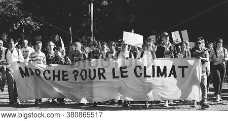 Strasbourg, France - Sep 21, 2019: Black And White Image Front View Of Large Group Of People Climate