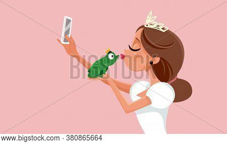 Princess Kissing Frog Virtue Signaling On Social Media Concept Illustration