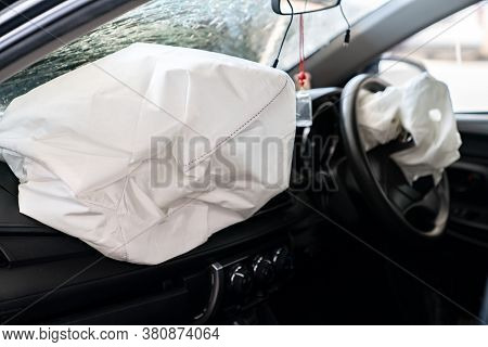Inside Automobile, Airbag Exploded At A Car After The Accident. Driver And Passenger Air Bags Deploy