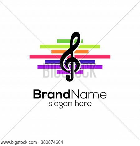Creative Colorful Media With Music Notation Logo Design Template