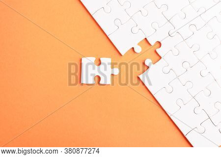 Top View Flat Lay Of Paper Plain White Jigsaw Puzzle Game Texture Last Pieces For Solve And Place, S