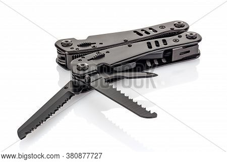 Lying Pocket Foldable Multifunctional Knife With Open Blades And Saw Isolated On White Background