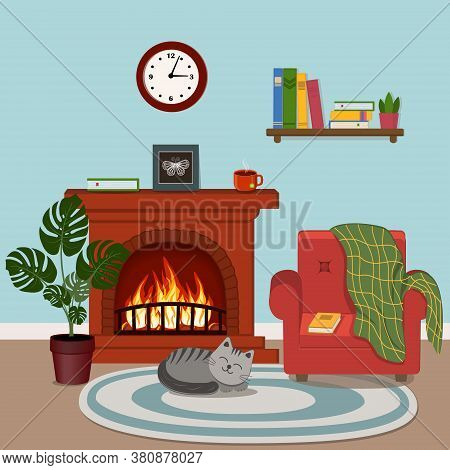 Cozy Interior Fireplace, Pet Cat, Bookshelf With Books And Indoor Monstera Flower And Wall Clock, Co