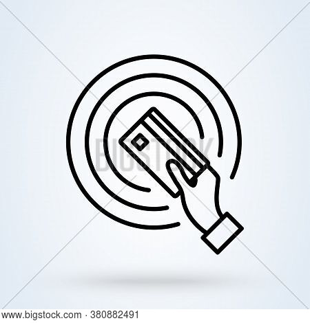 Near-field Communication (nfc) Icon Or Logo Line Art Style. Technology For Contactless Payment. Hand