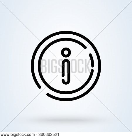 Information Icon Or Logo Line Art Style. Outline Info And Faq Concept. Info Vector Illustration.