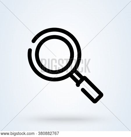Magnifying Glass Or Search Icon Or Logo Line Art Style. Outline Loupe Concept. Magnifying Glass Vect
