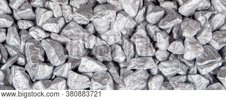 Closeup Of Silver, Platinum Or Palladium Ore, Many Pieces Of Digged Stones