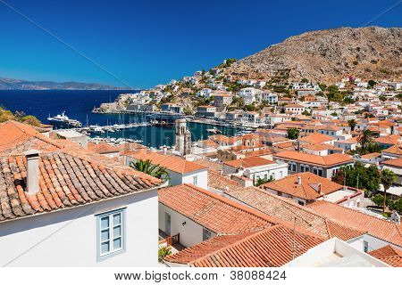 Overview Of The Island Of Hydra, Greece