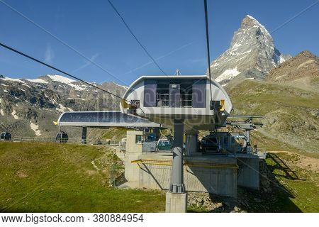 Cable Way To Mount Small Matterhorn Over Zermatt In The Swiss Alps