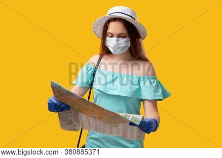 Quarantine Travel. Summer Vacation. Curious Tourist Woman In Protective Face Mask Gloves Searching L