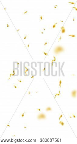 Streamers And Confetti. Gold Streamers Tinsel And Foil Ribbons. Confetti Falling Rain On White Backg