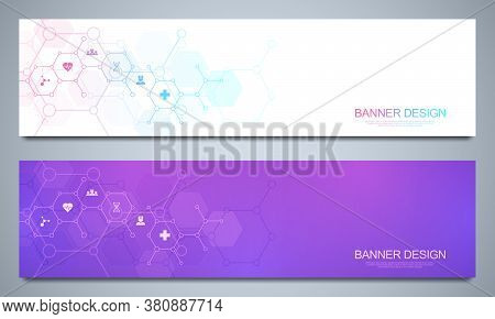 Banners Design Template For Healthcare And Medical Decoration With Flat Icons And Symbols. Science,