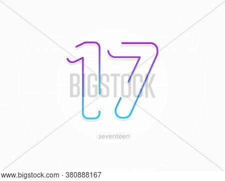 17 Number, Modern Gradient Font Alphabet. Trendy, Dynamic Creative Style Design. For Logo, Brand Lab