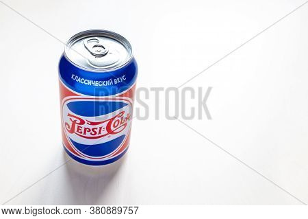 Moscow, Russia - August 6, 2020: New Limited Edition Can Of Pepsi With Design From The 40s Of The 20