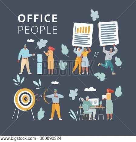 Cartoon Illustration Of Businessteam Working Together On Project Set. People On Dark Background. Off