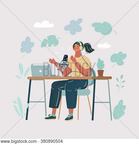 Cartoon Illustration Of Female Presenter In Radio Station Make Live In Studio. Podcaster And Broadca