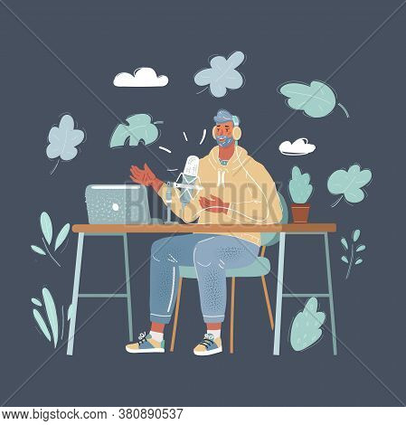 Cartoon Illustration Of Male Presenter In Radio Station Make Live In Studio. Podcaster And Broadcast