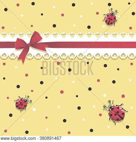 Ladybirds. Lace Ribbon. Vector Baby Background. Cartoon Ladybug Character For Childrens Textile Gift