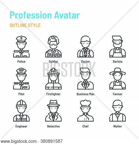 Profession Avatar In Outline Icon And Symbol Set