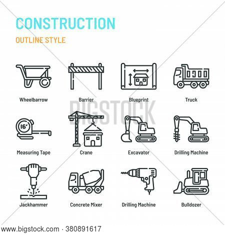 Construction In Outline Icon And Symbol Set