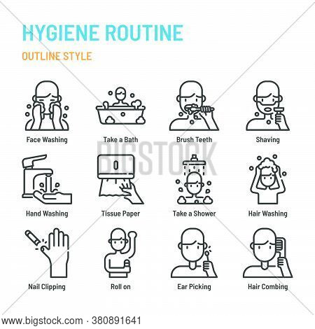 Hygiene Routine In Outline Icon And Symbol Set