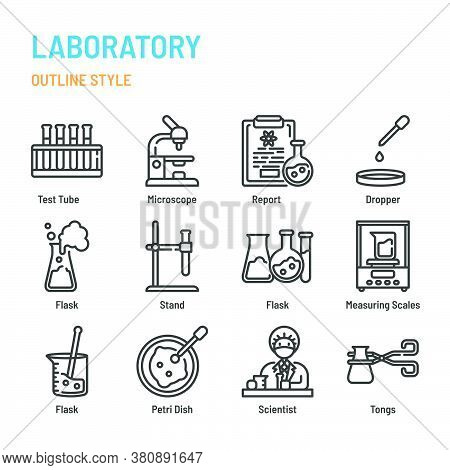 Laboratory In Outline Icon And Symbol Set
