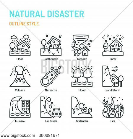 Natural Disaster In Outline Icon And Symbol Set