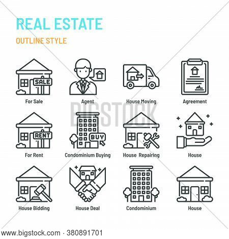 Real Estate In Outline Icon And Symbol Set