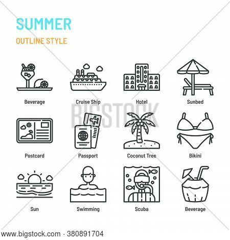 Summer And Holiday In Outline Icon And Symbol Set