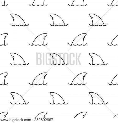 Seamless Pattern Shark Fin Line Icon Vector White Background. Fish Fin Ocean Illustration. Dolphin F