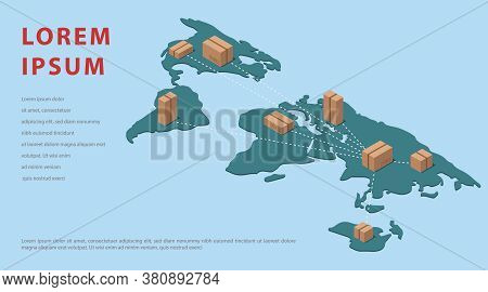 Isometric Map Of The World. Blogs Template Import Of Goods From China. Vector Illustration.