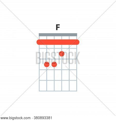 F Guitar Chord Icon. Basic Guitar Chords Vector Isolated On White. Guitar Lesson Illustration.
