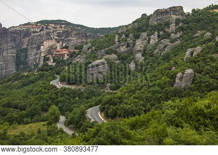 Summer Landscape With Rusanu Monastery Or St. Barbara. Meteora Monastery In Greece.