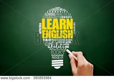 Learn English Light Bulb Word Cloud Collage, Education Concept Background On Blackboard