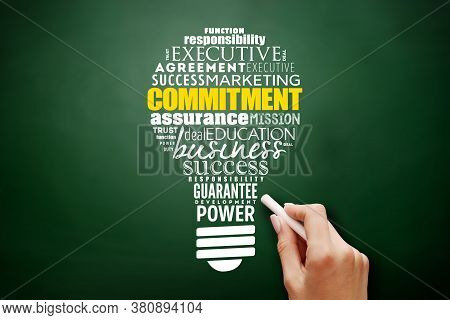 Commitment Light Bulb Word Cloud Collage, Business Concept Background
