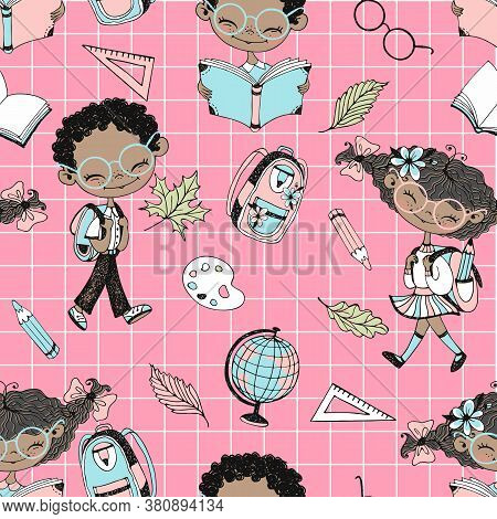 Seamless Pattern On The School Theme With School Children And School Accessories. Back To School. Ch