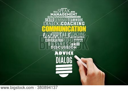 Communication Light Bulb Word Cloud Collage, Business Concept Background On Blackboard