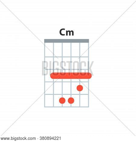 Cm Guitar Chord Icon. Basic Guitar Chords Vector Isolated On White. Guitar Lesson Illustration.