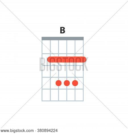 B Guitar Chord Icon. Basic Guitar Chords Vector Isolated On White. Guitar Lesson Illustration.