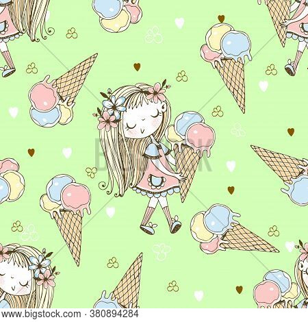 Seamless Pattern With A Cute Little Girl With Ice Cream On A Green Background. Vector