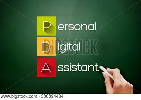 Pda - Personal Digital Assistant Acronym, Technology Concept Background On Blackboard