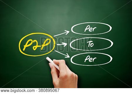 P2p - Per To Per Acronym, Technology Concept Background On Blackboard