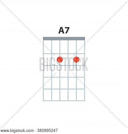 A7 Guitar Chord Icon. Basic Guitar Chords Vector Isolated On White. Guitar Lesson Illustration.