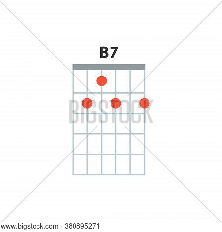 B7 Guitar Chord Icon. Basic Guitar Chords Vector Isolated On White. Guitar Lesson Illustration.