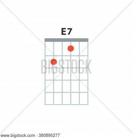 E7 Guitar Chord Icon. Basic Guitar Chords Vector Isolated On White. Guitar Lesson Illustration.