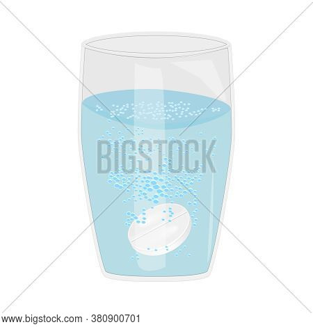 Effervescent Aspirin Tablets Dissolve In A Glass Of Water Isolated On White Background. Soluble Pill